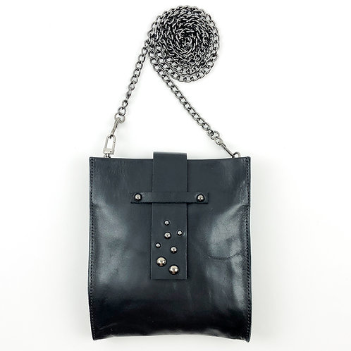 black leather handbag - front