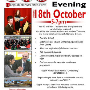 Sixth Form Open Evening - Thursday 18th October - 5pm-7pm