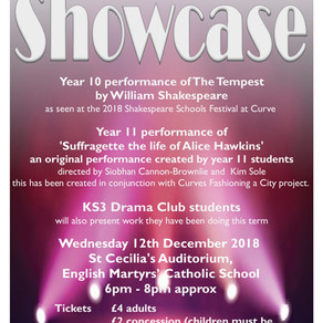 Drama Showcase - Wednesday 12th December, 6pm