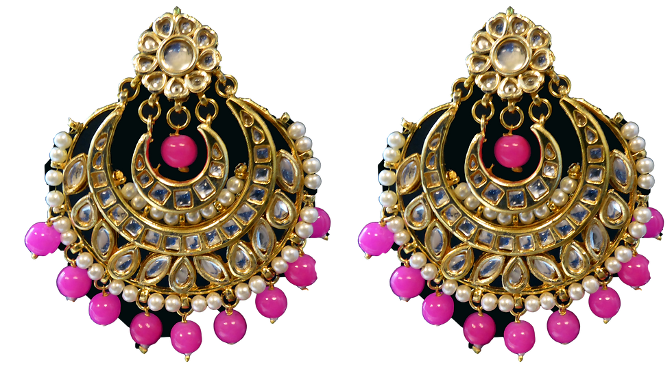 Kundan Round - Pink