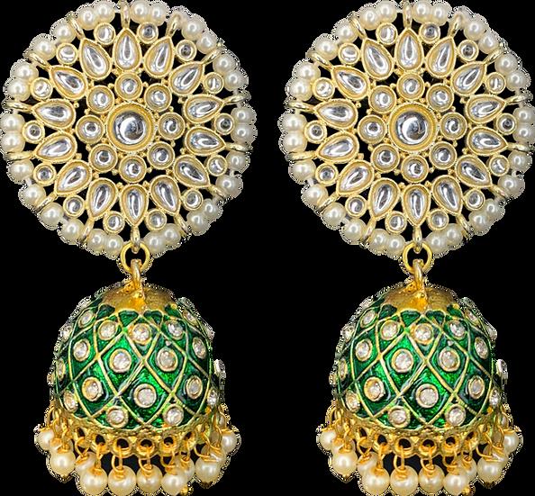 Round Meena Jhumki - Green