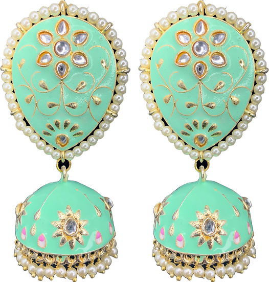 Large Meena Jhumki - Mint