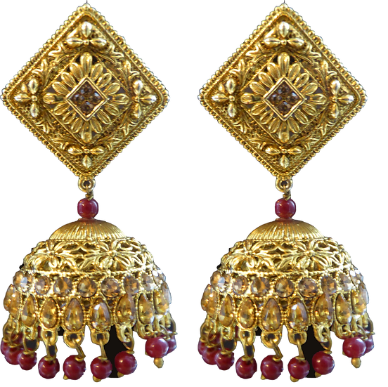 Diamond Jhumki - Maroon