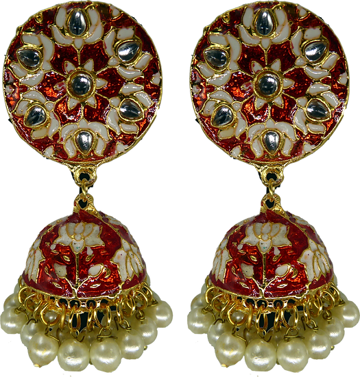 Meenakari Jhumki - Red/White
