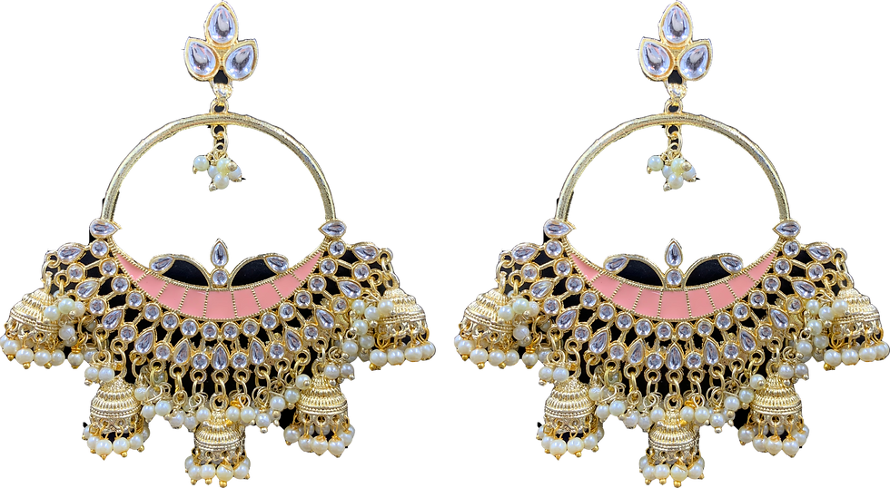 Oversized 5 Jhumki - Peach