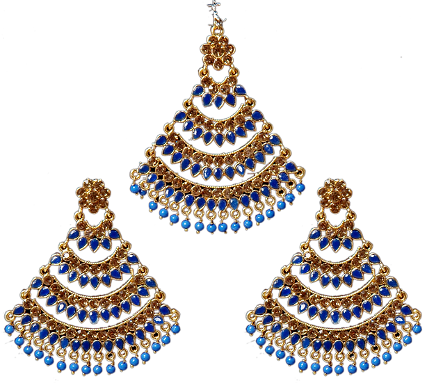 Polki Earring Tikka Set - Blue