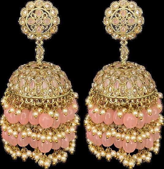 Oversize Jhumki - Pink