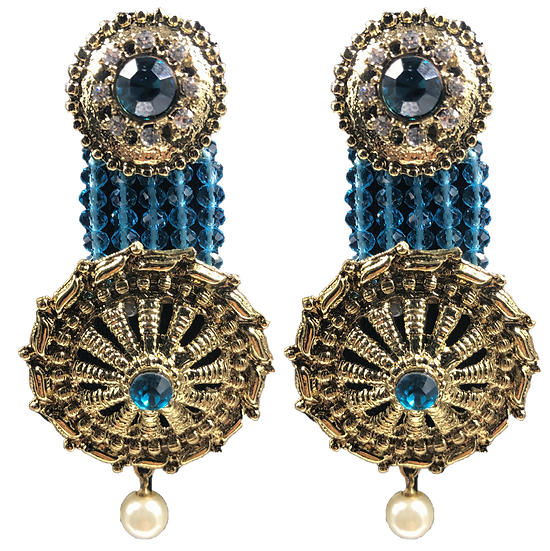 Kundan Hanging Earrings - Blue