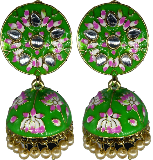 Meenakari Mini Jhumki - Green