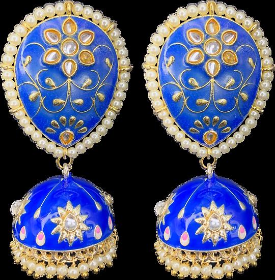 Large Meena Jhumki - Blue