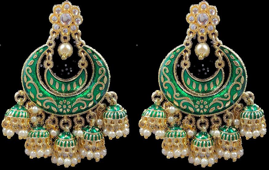 Meena 5 Jhumki- Green