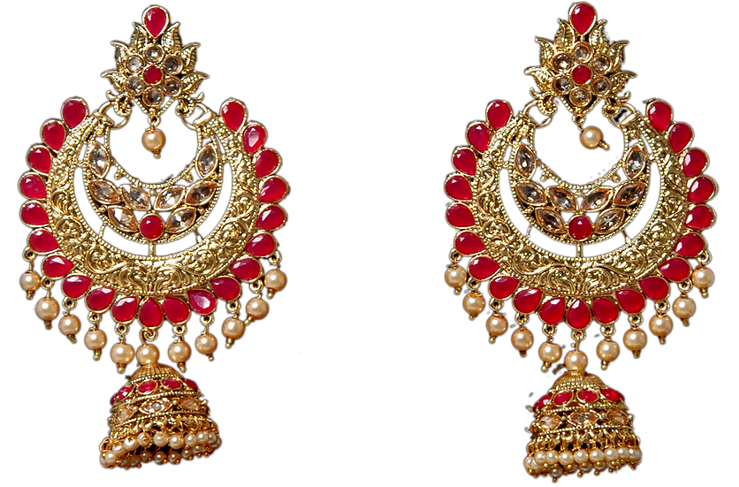 Oversize Chandbali - Gold/Red