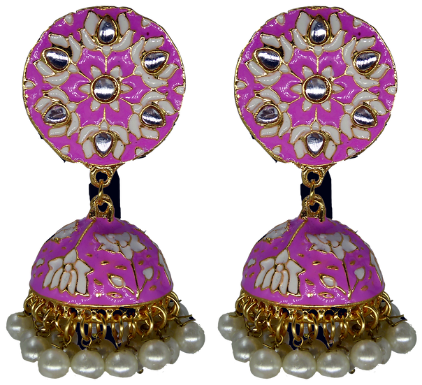 Meenakari Jhumki - Light Pink