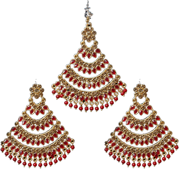 Polki Earring Tikka Set - Maroon