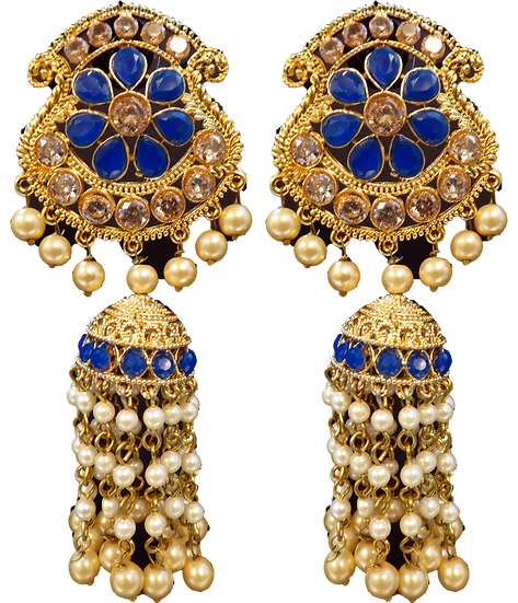 Long Jhumki - Blue