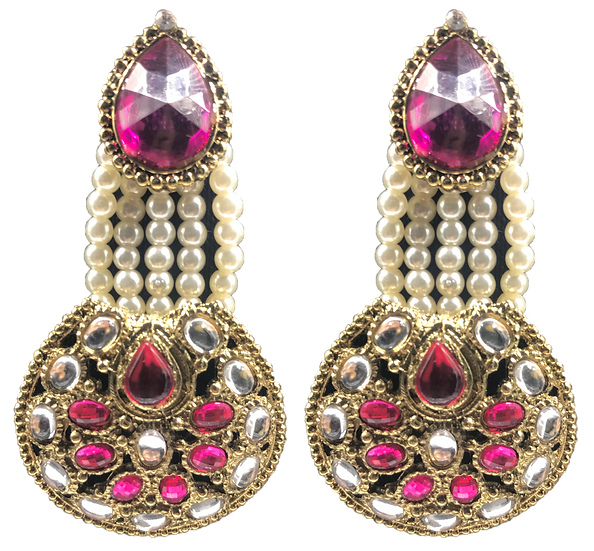 Kundan Studded & Pearl Earrings - Pink