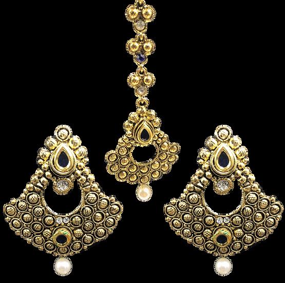 Gold Blue Earring Tikka Set