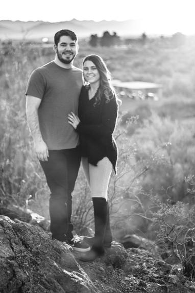 beautiful young couple desert engagement photography sunset