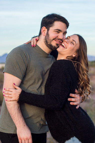 beautiful young couple desert engagement photography