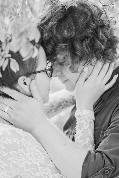 Young couple engagement photography closeup