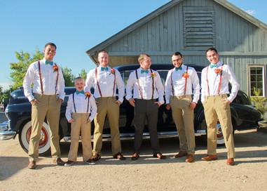 Groom with groomsmen goofing off