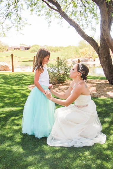 Local wedding photography bride with flower girl