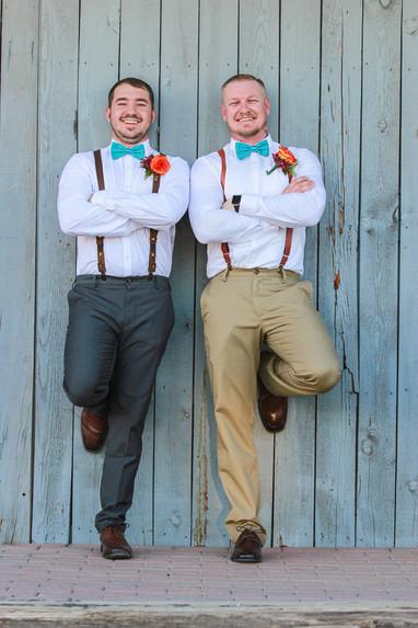 Groom with groomsmen before wedding ceremony