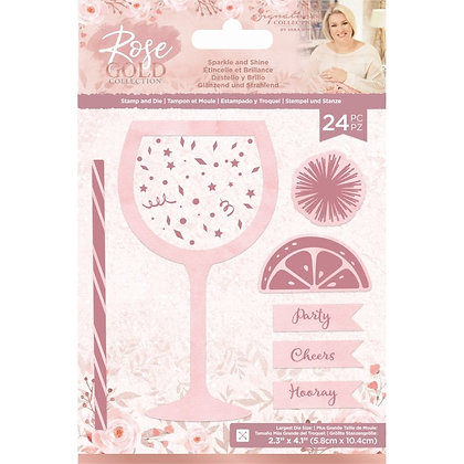 Sara Signature Rose Gold Stamp and Die - Sparkle and Shine