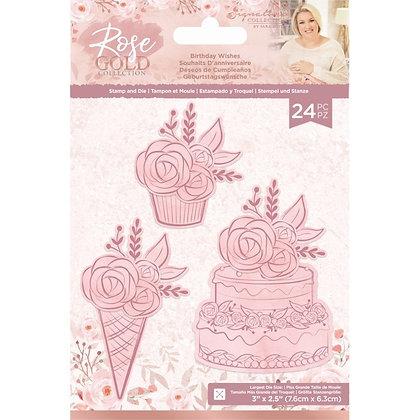 Sara Signature Rose Gold Stamp and Die - Birthday Wishes