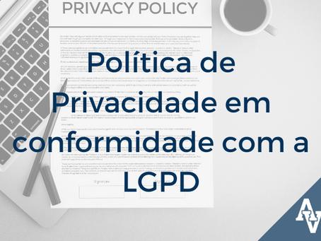 Política de Privacidade em conformidade com a LGPD