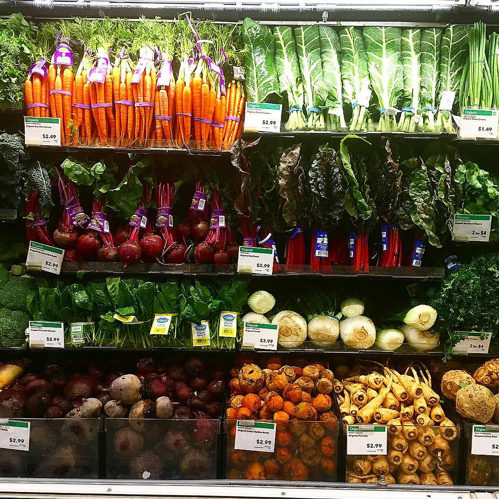 veggie wall at Whole Foods .