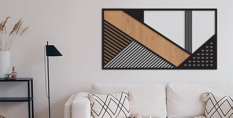 תמונת אלדו גיאומטרית בשילוב עץ