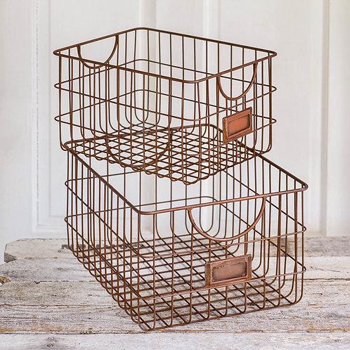 Copper Finish Storage Baskets, set of 2
