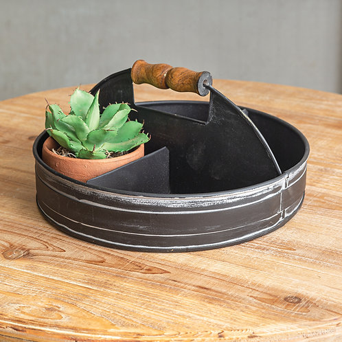 Black Divided Tray with Wood Handle