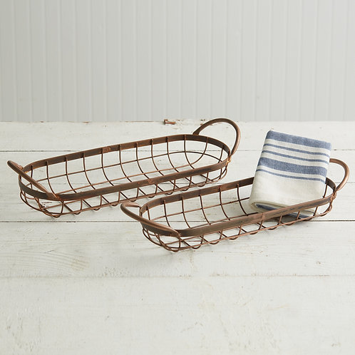 Copper Finish Bread Baskets, set of 2