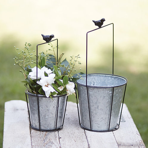 Metal Chickadee Planters, set of 2