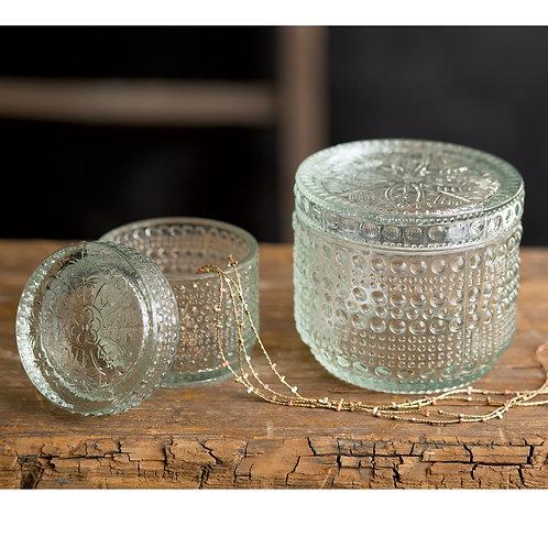 Cut Glass Jars, set of 2