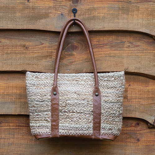Vintage Inspired Jute Bag with Leather Handles
