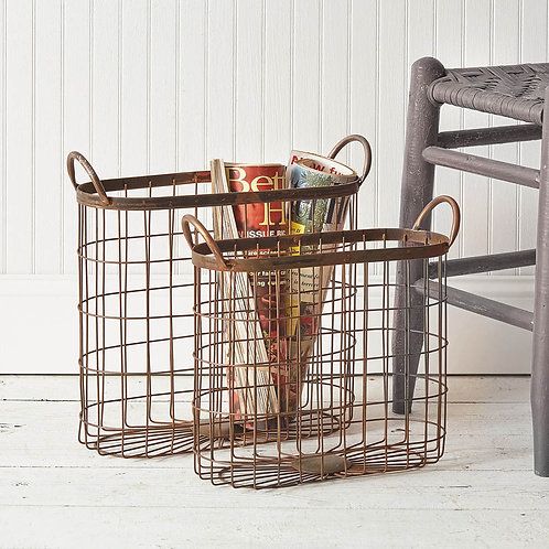 Copper Finish Oval Metal Baskets, set of 2