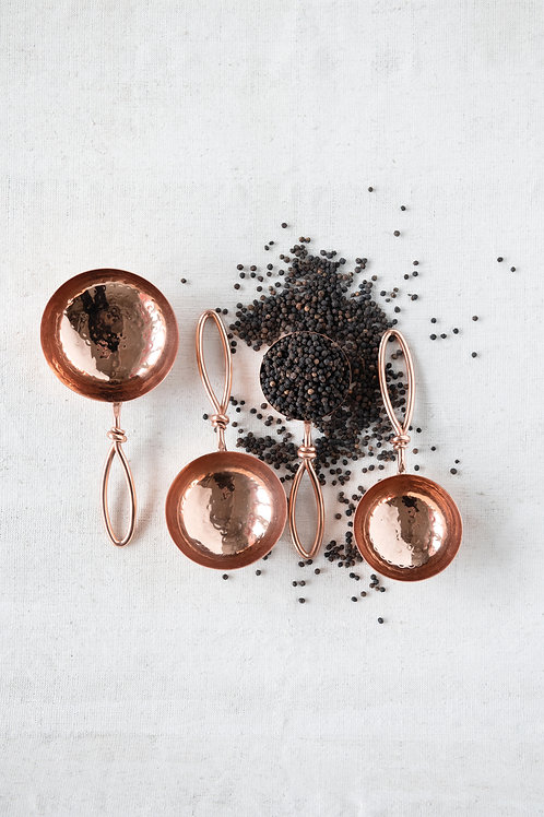 Hammered Stainless Steel Scoops, Copper Finish