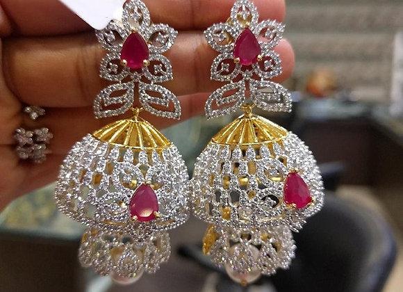 Jhumkas - Earrings in American Diamonds, Ruby's & Pearls (1gm Gold)