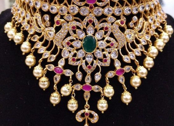 Indian Bridal Jewelry - Wedding Jewelry for Brides - American Diamond Necklace