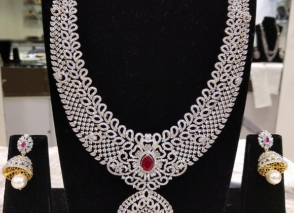 Indian Bridal Jewelry - Gorgeous Long Bridal Necklace Set with Jhumkas