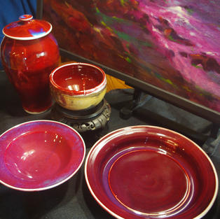 Yachats Rocks and copper red porcelain dishes various sizes