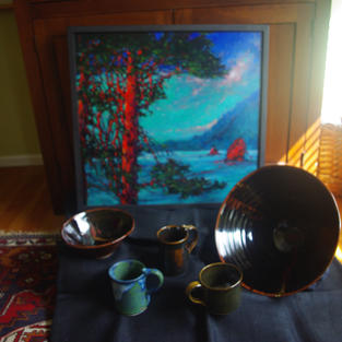 Tenmoku and other cone 10 glazes on 16 inch pot and other smaller ones and oil painting on panel, Sunset Pines California, 24x24