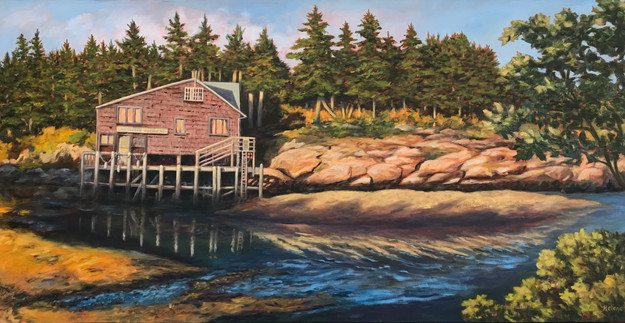 Setting sun on Wonsqueak Harbor, Maine