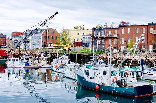 Susan Moore: Eastport Inner Basin - Boats With Construction Crane