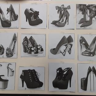 red shoes canvas arrangement