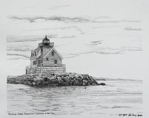 """""""Rockland Harbor Breakwater Lighthouse"""" by A.T. Watt"""