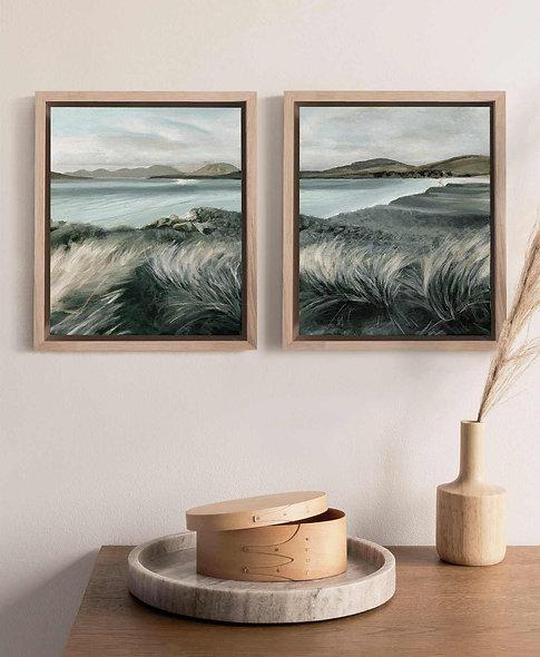 """""""Daybreak Shore"""" Set of Two Framed Vertical Landscapes"""
